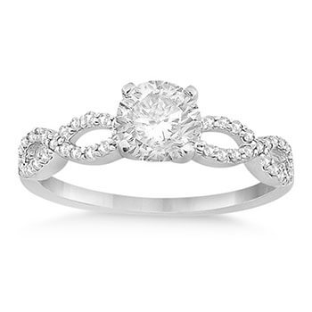 Twisted Infinity Diamond Engagement Ring Setting 14K White Gold (0.21ct)