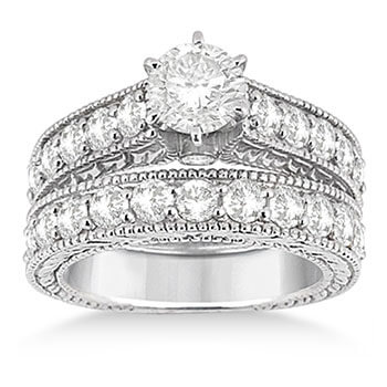 Antique Diamond Wedding & Engagement Ring Set 14k White Gold (2.15ct)
