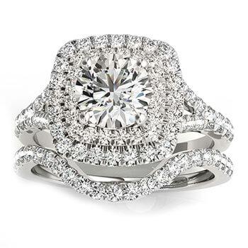 Square Double Halo Diamond Bridal Set Setting 14k White Gold (0.87ct)