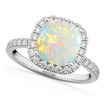 Cushion Cut Halo Opal & Diamond Engagement Ring 14k White Gold (3.11ct)