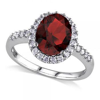 Oval Garnet & Halo Diamond Engagement Ring 14k White Gold 3.22ct