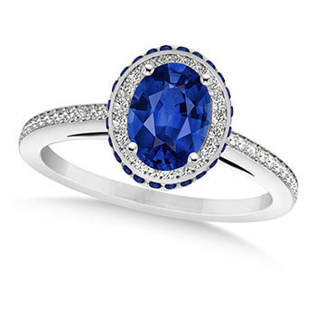Oval Blue Sapphire Diamond Halo Engagement Ring 14k White Gold 2.00ct
