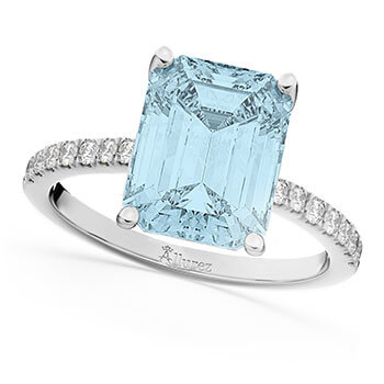 Emerald Cut Aquamarine & Diamond Engagement Ring 14k White Gold (2.96ct)
