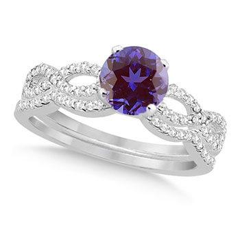 Infinity Style Alexandrite & Diamond Bridal Set 14k White Gold 1.29ct