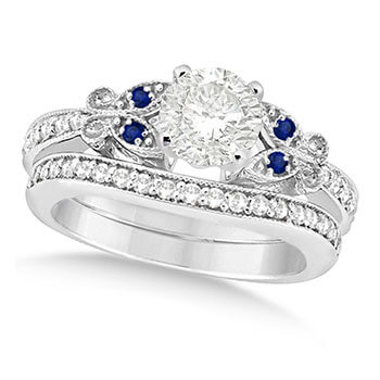 Round Diamond & Blue Sapphire Butterfly Bridal Set in 14k W Gold 0.71ct