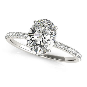 Diamond Accented Oval Shape Engagement Ring 14k White Gold (1.50ct)