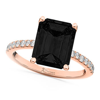 Emerald Cut Black Diamond & Diamond Engagement Ring 14k Rose Gold (2.96ct)