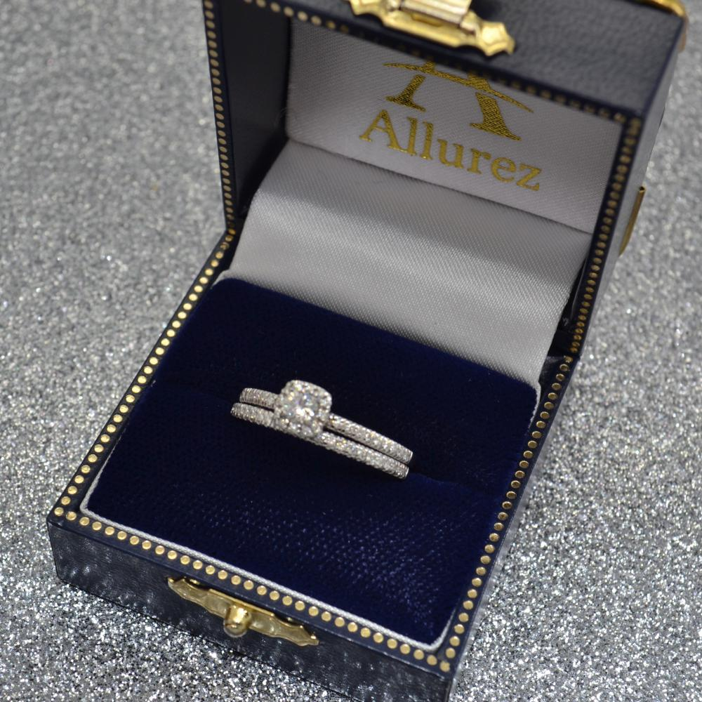 Square Halo Diamond Bridal Set Ring Setting & Band 14k W. Gold 0.33ct