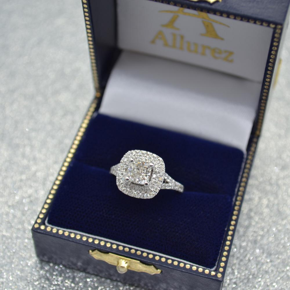Square Double Halo Diamond Engagement Ring 14k White Gold (0.62ct)
