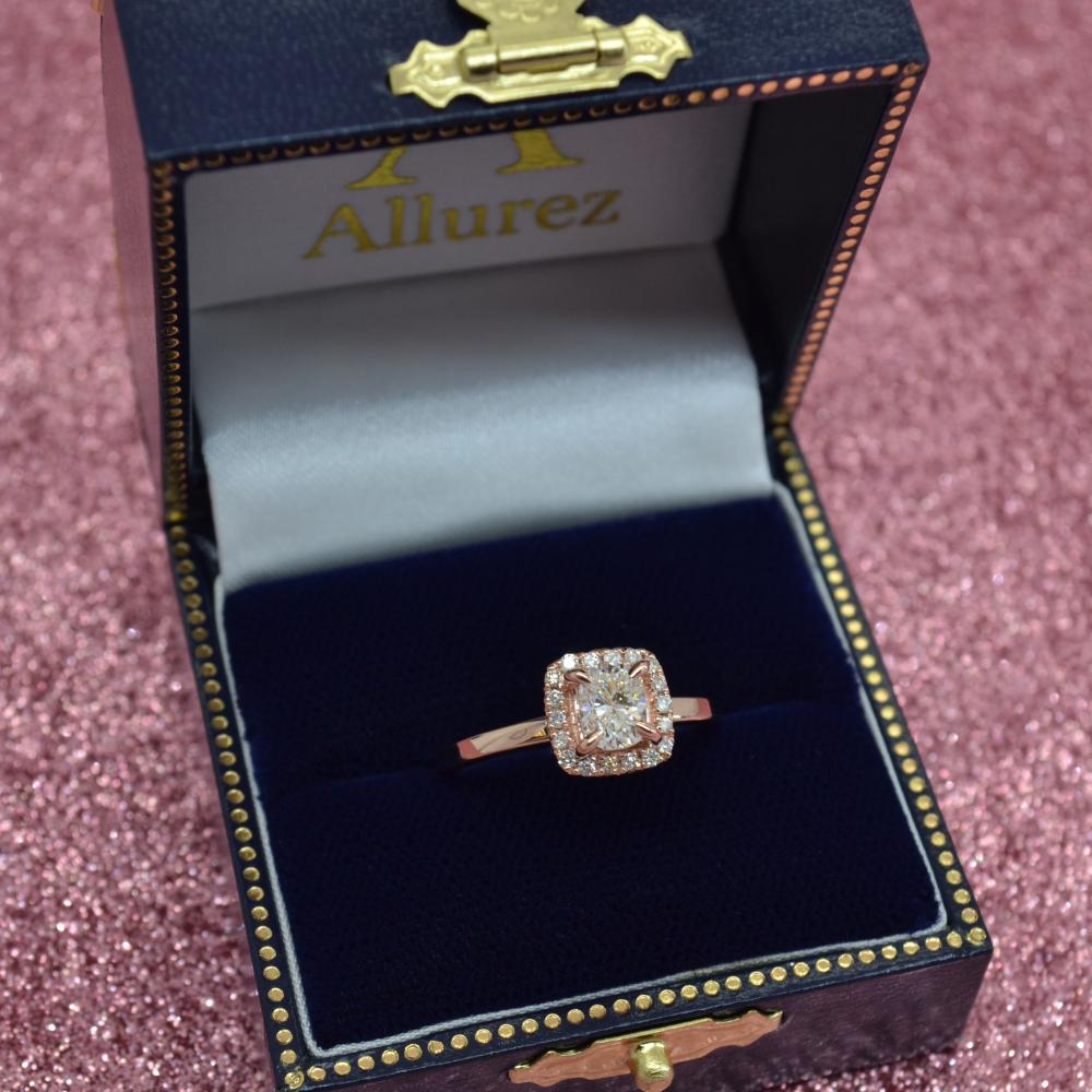 Cushion Diamond Halo Engagement Ring 14k Rose Gold (0.15ct)