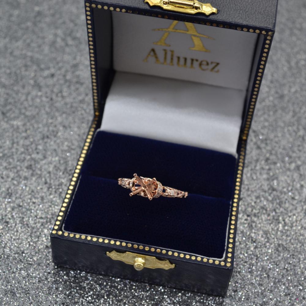 Diamond Antique Style Engagement Ring Setting 14k Rose Gold (0.12ct)