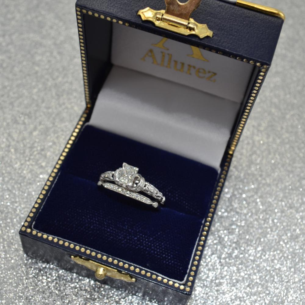 Diamond Antique Style Engagement Ring Setting Palladium (0.12ct)
