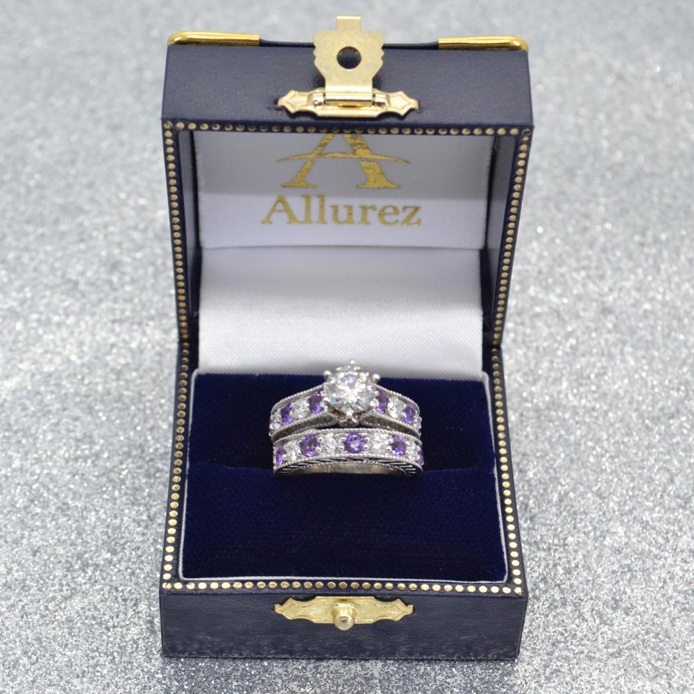 Antique Diamond & Amethyst Bridal Wedding Ring Set 14k White Gold (2.75ct)