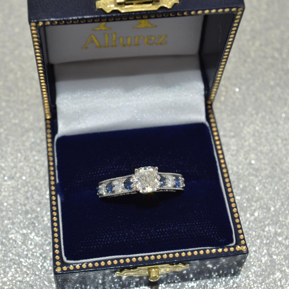Vintage Diamond & Sapphire Engagement Ring Setting Palladium (1.41ct)