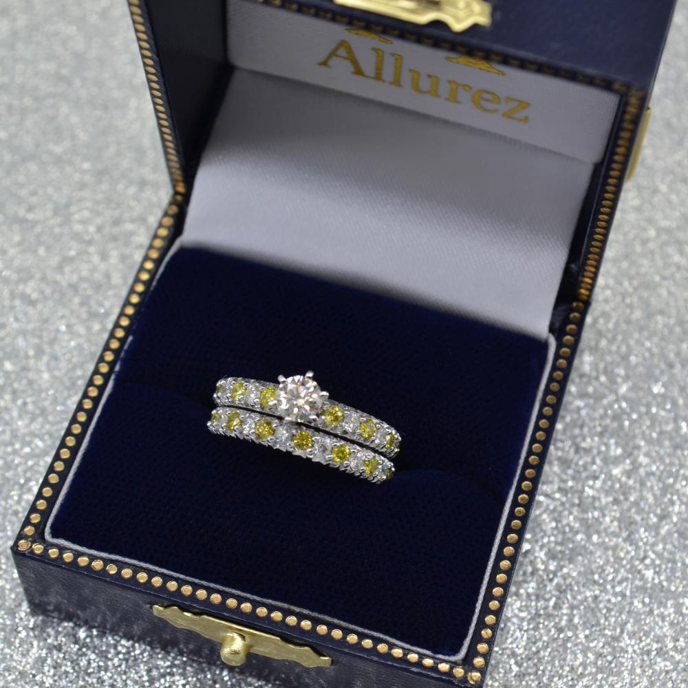 Yellow Diamond & Diamond Bridal Set Setting 18k White Gold 1.14ct