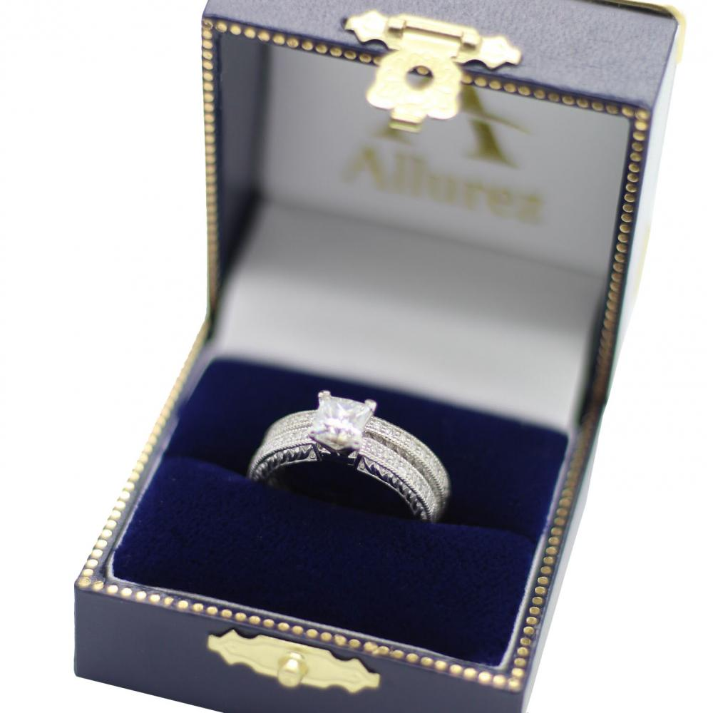 Vintage Filigree Diamond Engagement Bridal Set Platinum (0.35ct)