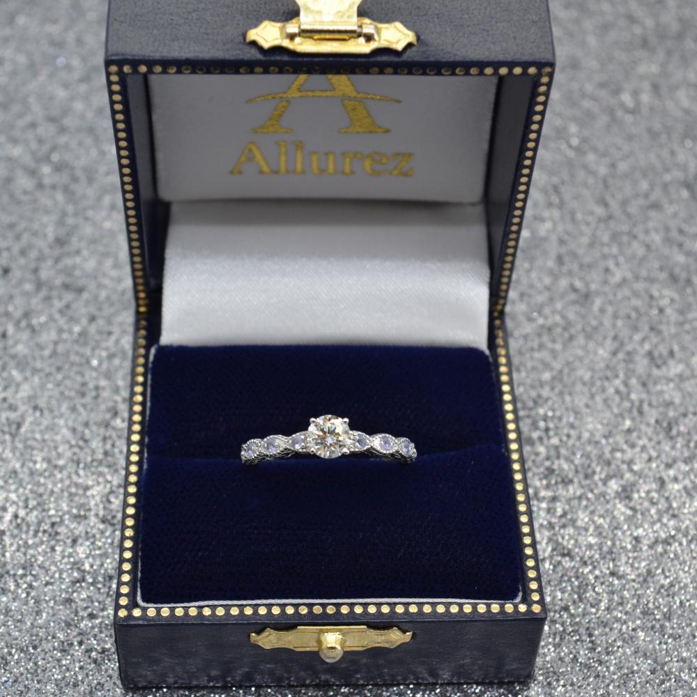 Vintage Marquise Tanzanite Engagement Ring 14k White Gold (0.18ct)