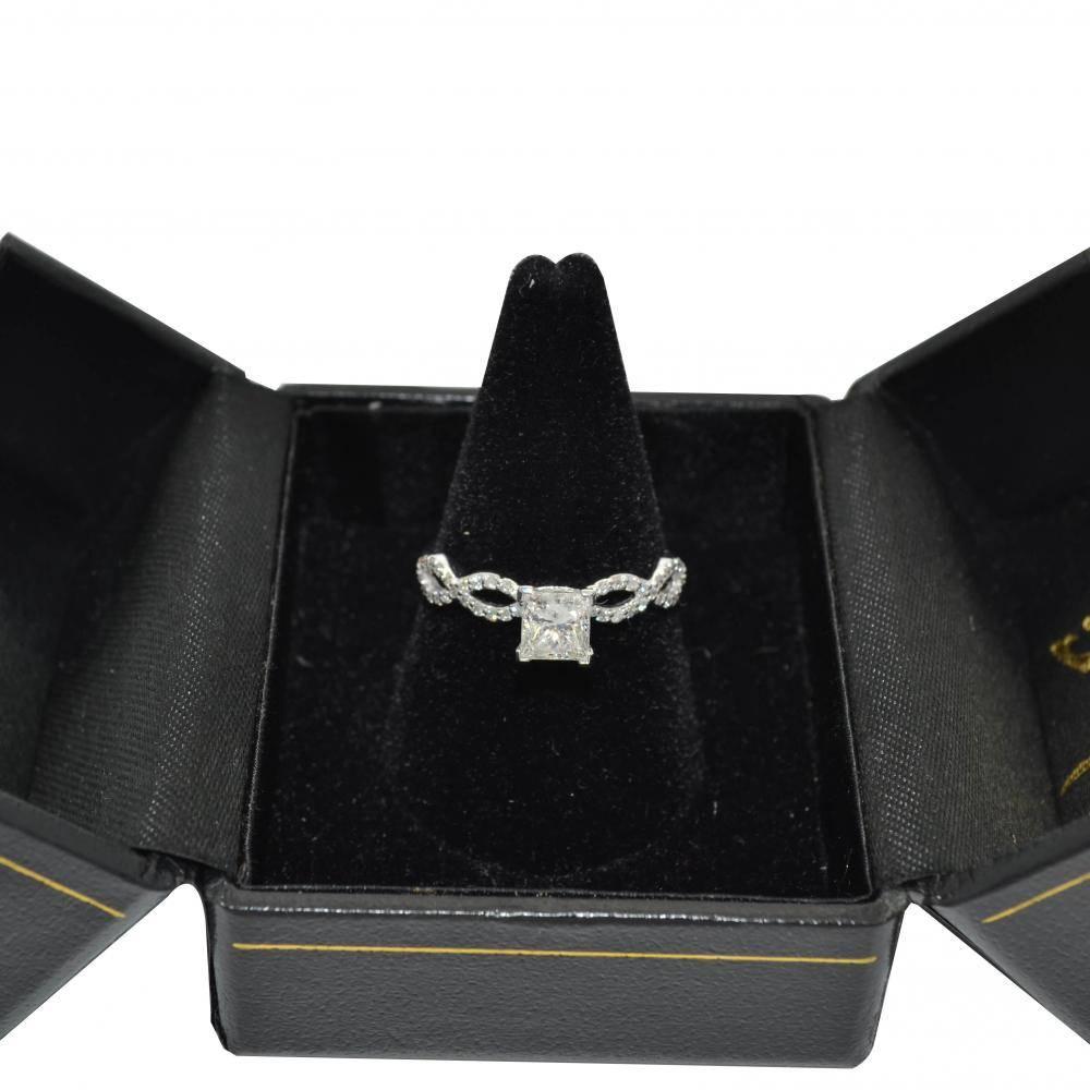Twisted Infinity Round Diamond Engagement Ring 18k White Gold (0.75ct)