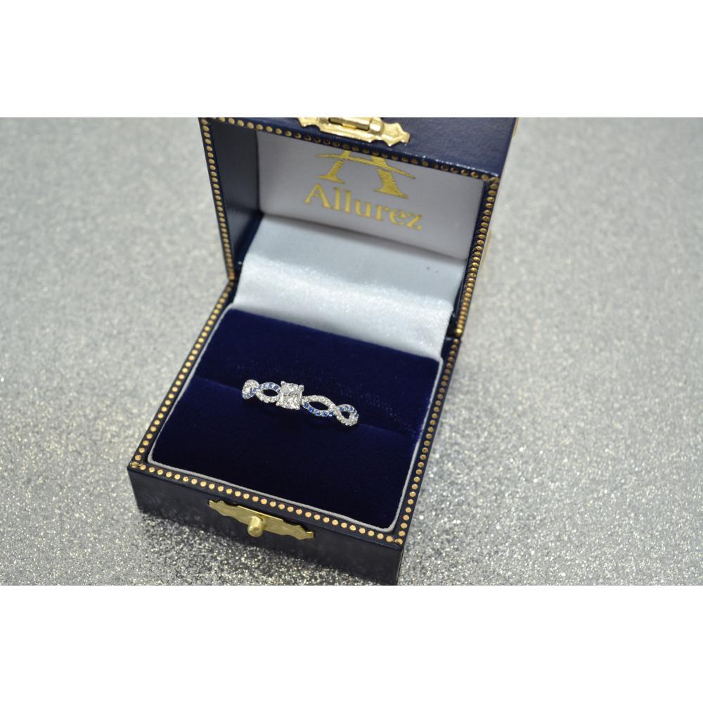 Infinity Diamond & Blue Sapphire Engagement Ring 18K White Gold 0.21ct