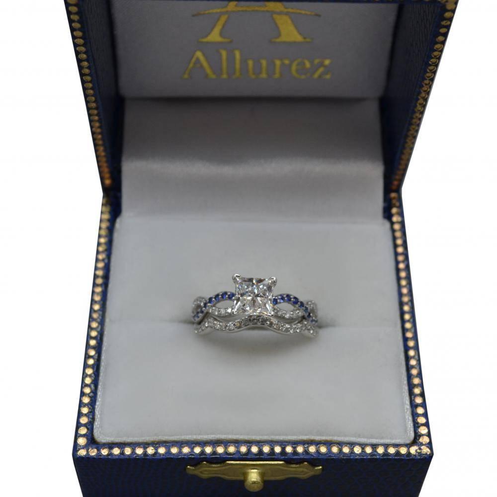 Infinity Diamond & Blue Sapphire Ring Bridal Set in platinum 0.34ct