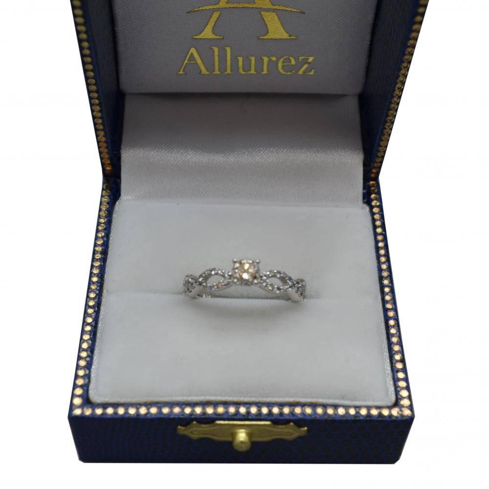 Infinity Diamond & Blue Topaz Engagement Ring in 14k White Gold (0.21ct)