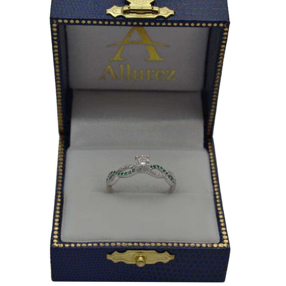 Infinity Diamond & Emerald Gemstone Engagement Ring Palladium 0.21ct