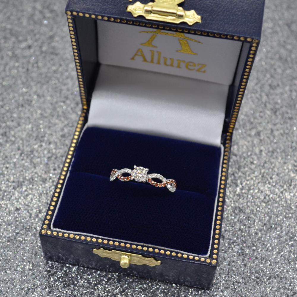 Infinity Diamond & Garnet Engagement Ring in 14k White Gold (0.21ct)