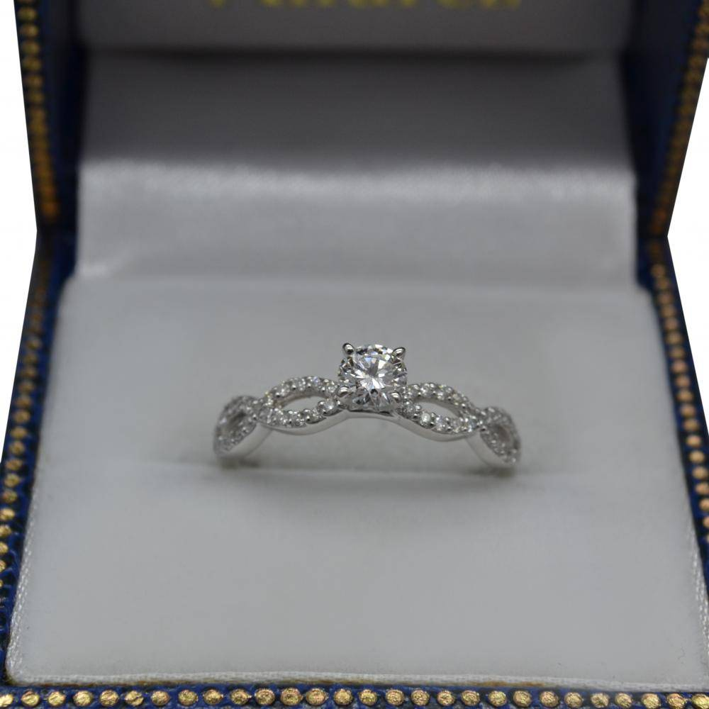 Infinity Diamond & Peridot Gemstone Engagement Ring Platinum (0.21ct)