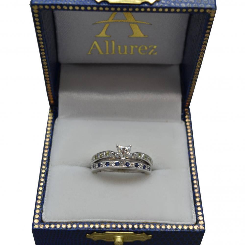 Peridot & Diamond Engagement Ring 14k White Gold 0.26ct