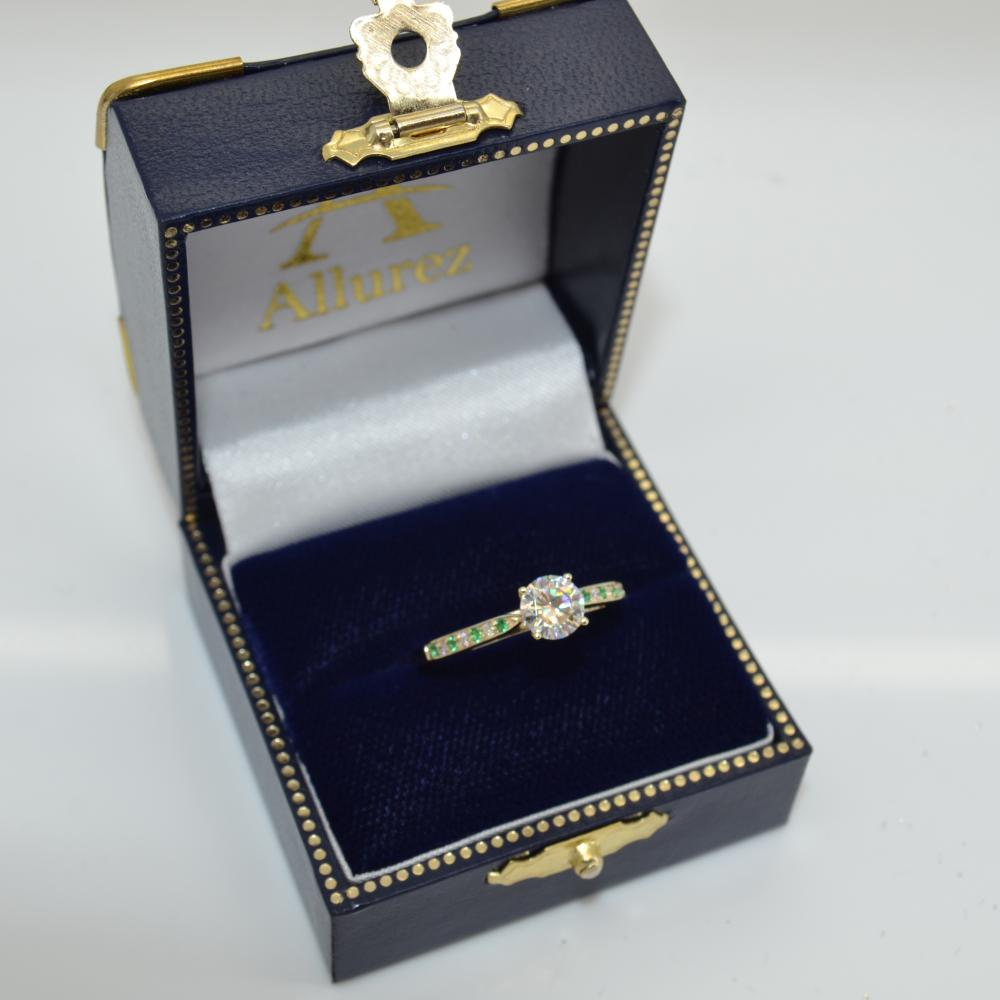 Cathedral Green Emerald Diamond Engagement Ring 14k Yellow Gold 0.22ct