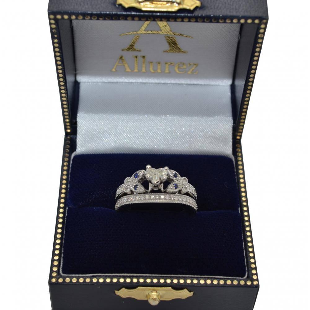 Heart Diamond & Aquamarine Butterfly Bridal Set in 14k W Gold (0.96ct)
