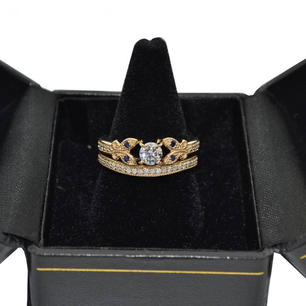Butterfly Diamond & Blue Sapphire Bridal Set 14k Yellow Gold (0.42ct)