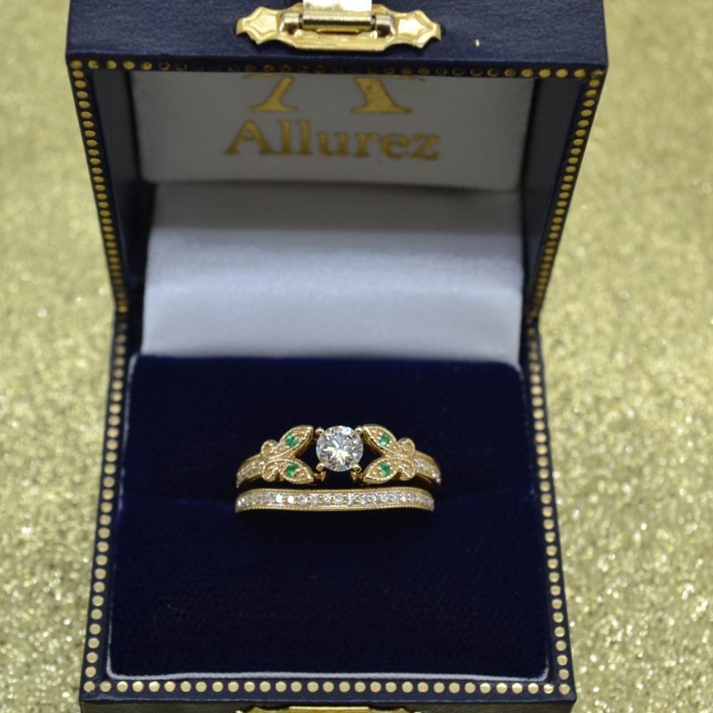 Butterfly Diamond & Emerald Bridal Set 14k Yellow Gold (0.42ct)
