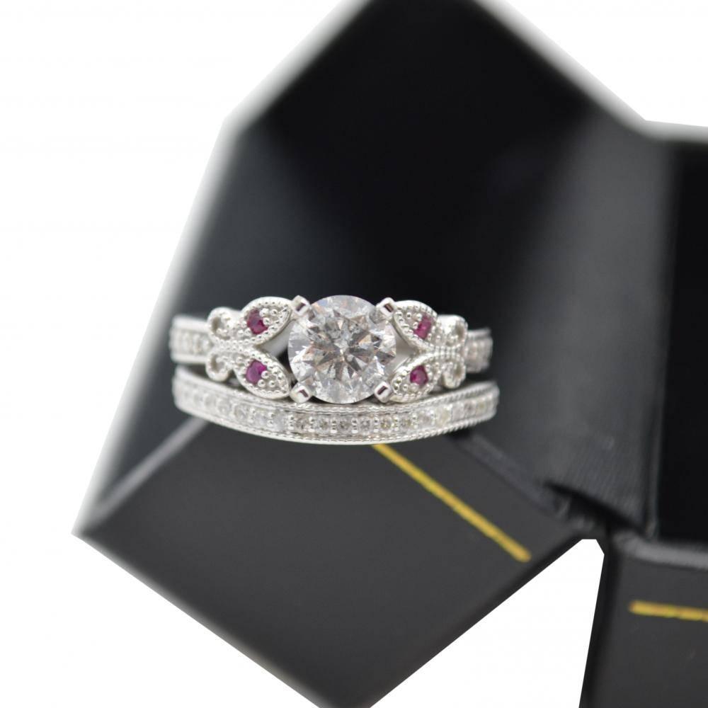 Butterfly Diamond & Garnet Engagement Ring 14k Rose Gold (0.20ct)