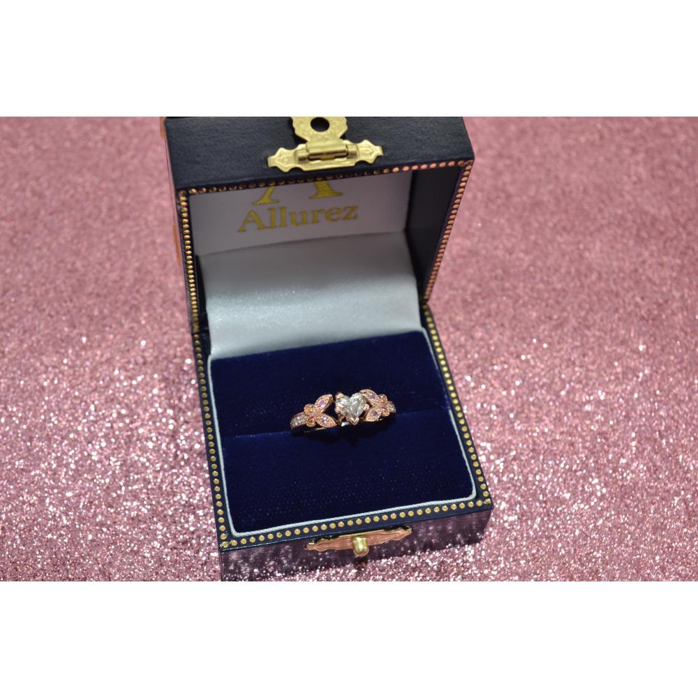 Butterfly Diamond & Pink Sapphire Engagement Ring 14k Rose Gold (0.20ct)