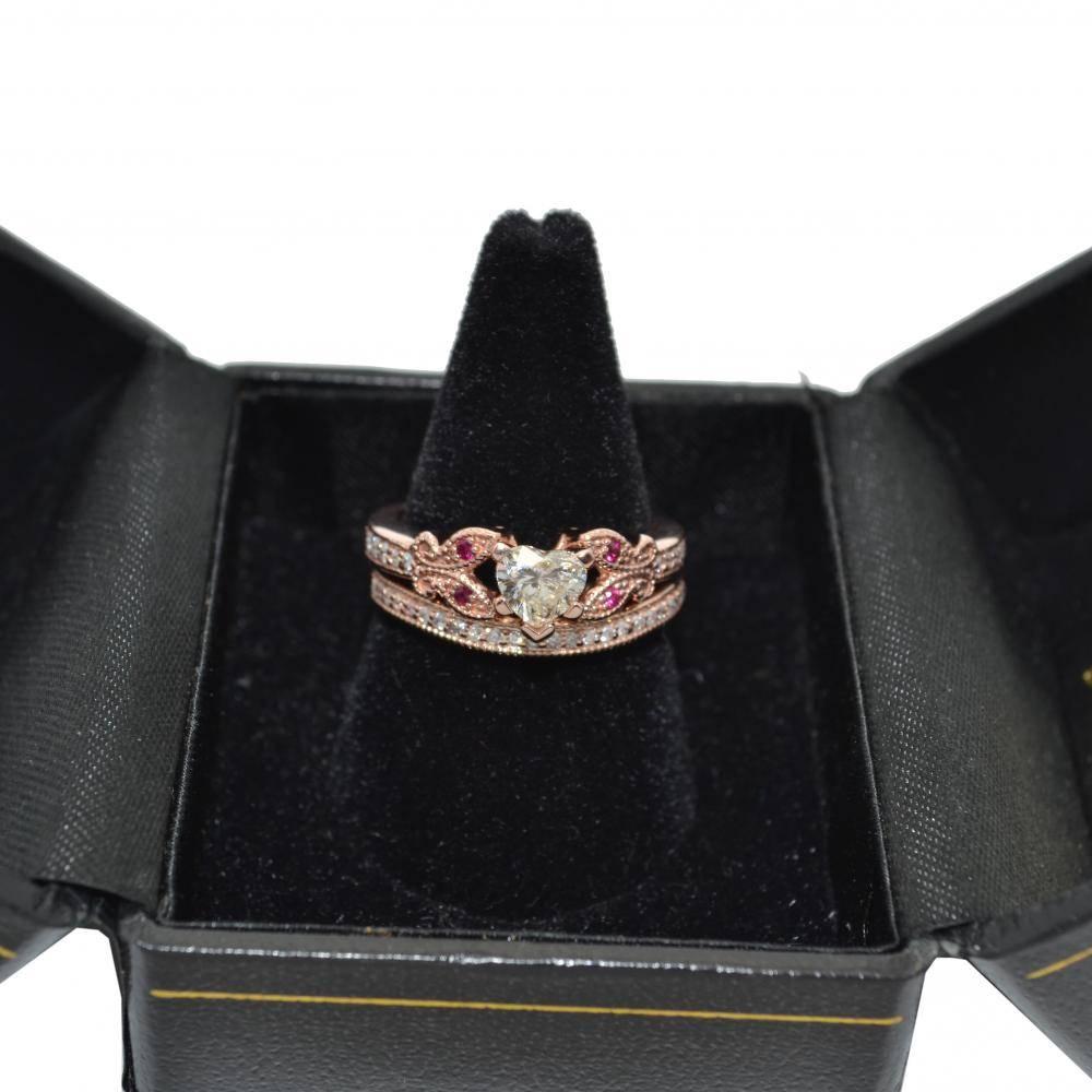 Butterfly Diamond & Ruby Bridal Set 14k Rose Gold (0.42ct)