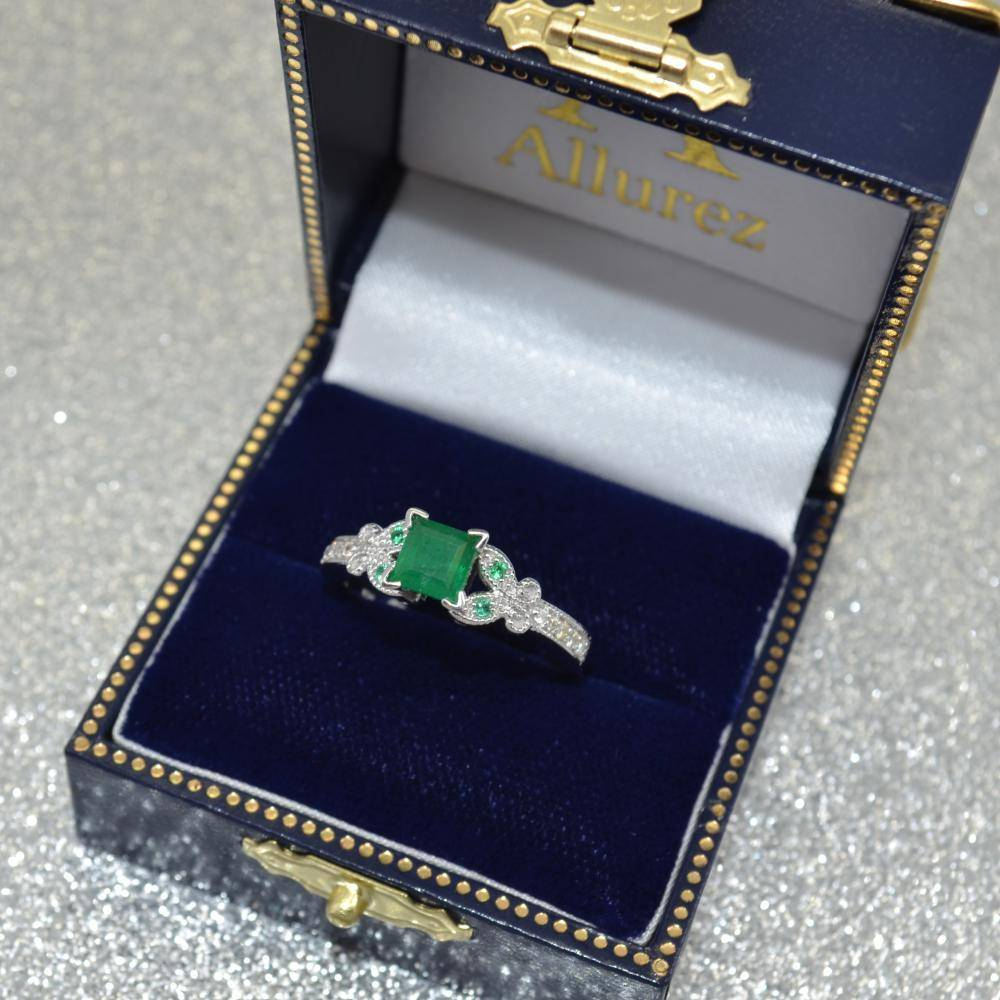 Butterfly Genuine Emerald & Diamond Princess Ring 14k W. Gold 1.31ct