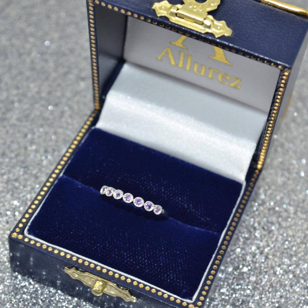 Blue Sapphire & Diamond Bezel Set Bridal Set 14k White Gold (0.19ct)