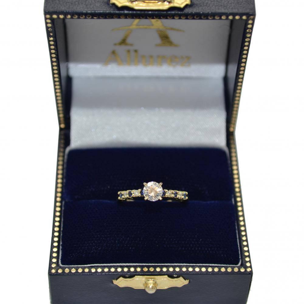 Petite Diamond & Sapphire Engagement Ring 18k Yellow Gold (0.15ct)