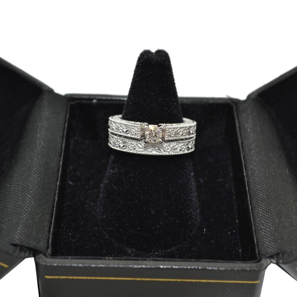 Carved Floral Wedding Set Engagement Ring & Band 14K White Gold