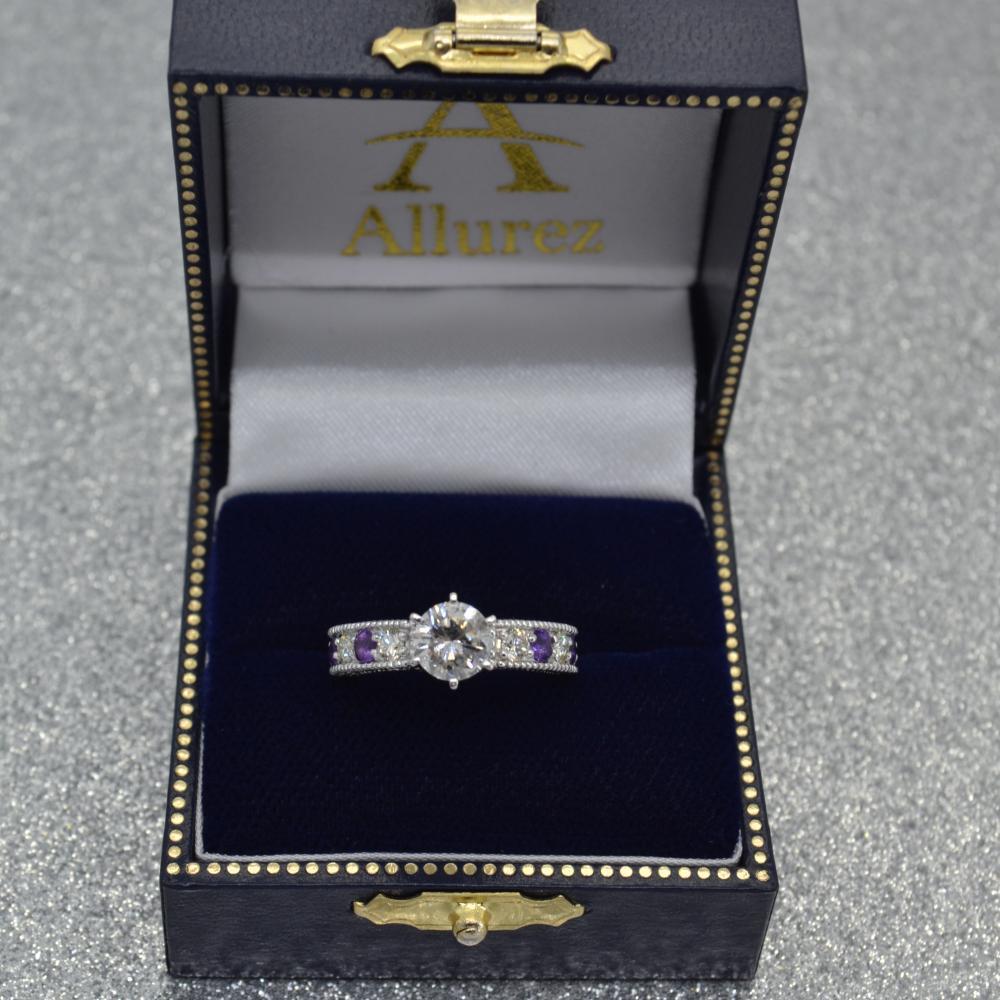 Antique Diamond & Amethyst Engagement Ring 14k White Gold (0.75ct)