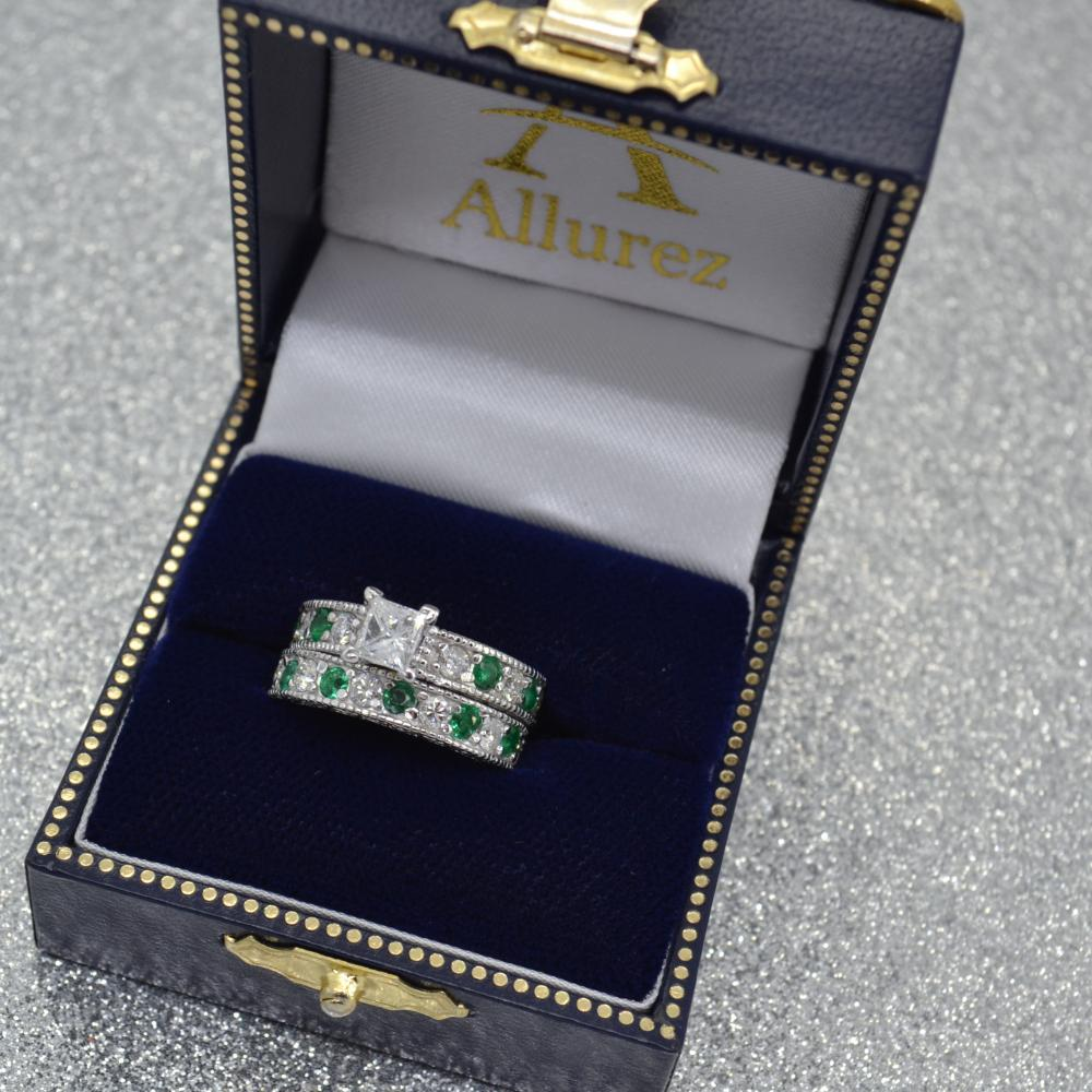Antique Diamond & Emerald Bridal Set 14k White Gold (1.75ct)