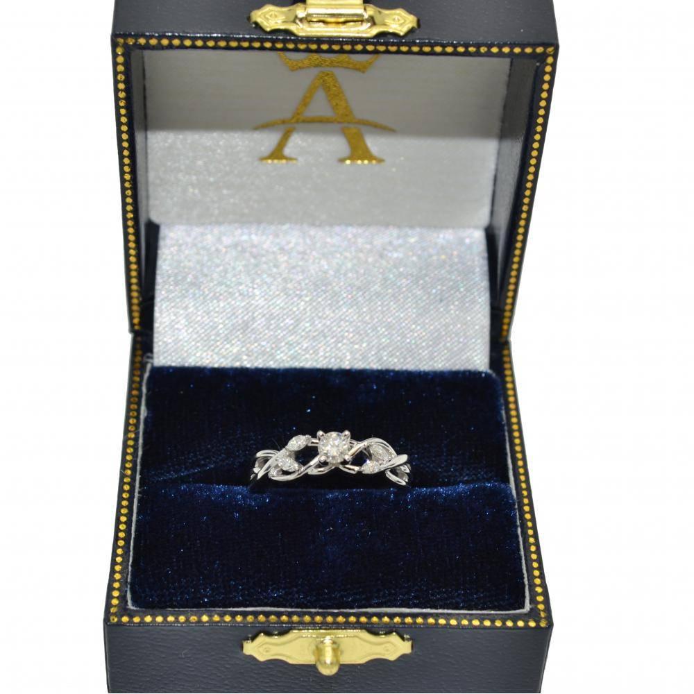 Diamond Marquise Vine Leaf Engagement Ring Setting 18k White Gold (0.20ct)