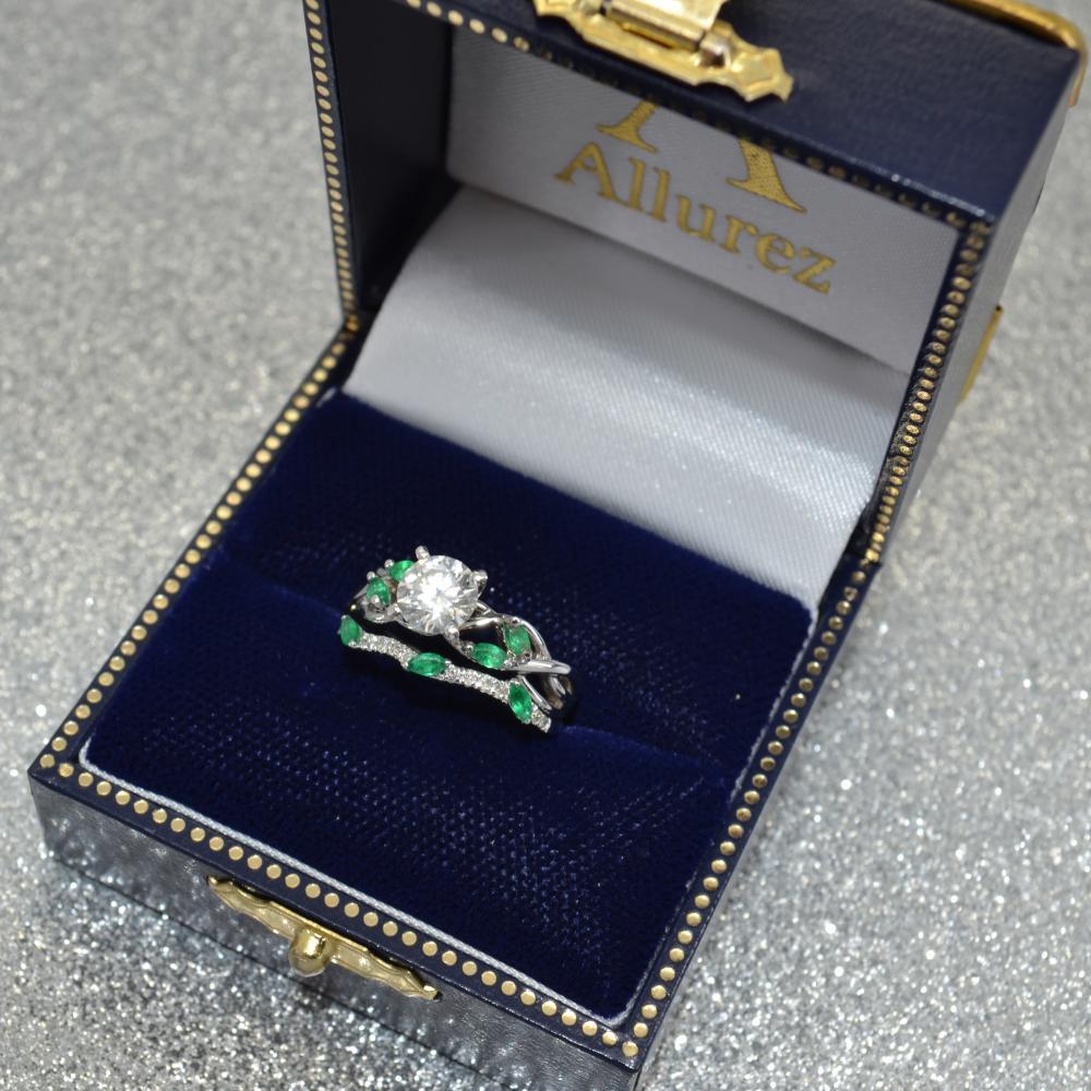Marquise Emerald & Diamond Bridal Set Setting 14k White Gold (0.43ct)