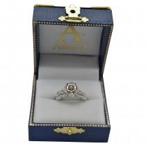 Halo Diamond Engagement & Wedding Rings Bridal Set 14k W. Gold 0.83ct