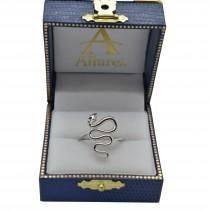 Diamond Eyed Snake Fashion Ring in 14k White Gold .03 carat