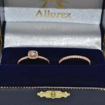 Square Halo Diamond Bridal Set Ring Setting & Band 14k Rose Gold 0.35ct