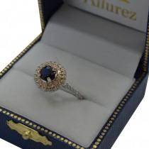 Double Halo Round Blue Sapphire Engagement Ring 14k White Gold 1.42ct