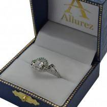 Swirl Bypass Halo Diamond Emerald Engagement Ring 14k White Gold 0.20ct