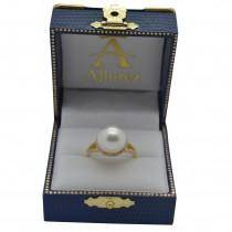 Custom-Made South Sea Cultured Pearl and Diamond Halo Ring 14K Yellow Gold (11mm)